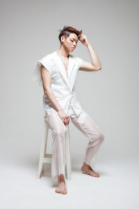 Model Aaron Chin, Hair and makeup by Crystal Cecilia, Designer Rini Teng